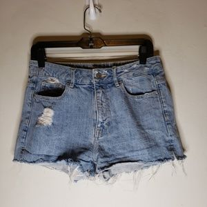H&M High Rise Cut Off Distressed Denim Shorts